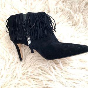 Sam Edelman black suede fringe shoe boots 6.5